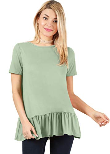 - Sage Green Tops for Women Maternity Tunic Tops Womens Short Sleeve Shirts Ruffle Shirt Green Flowy Top (Size X-Large US 12-14, Sage Short Sleeve)