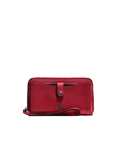 COACH Women's Polished Pebbled Leather Phone Wallet Dk/Cherry (Pebbled Leather Snap Wallet)