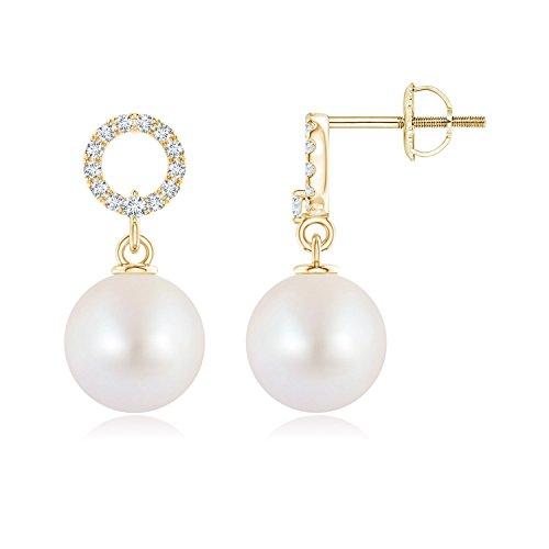 Akoya Cultured Pearl Circle Drop Earrings with Diamonds in 14K Yellow Gold (8mm Akoya Cultured Pearl)