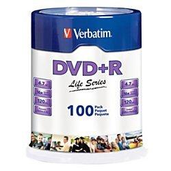 Verbatim(R) Life Series DVD+R Spindle, Pack Of 100 by Verbatim