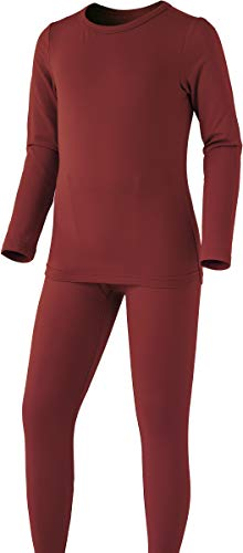 TSLA Boy's Microfiber Soft Fleece Lined Warm Thermal Top & Bottom Set, Boy Set(khs300) - Brick, Small (Height 4ft2in - ()