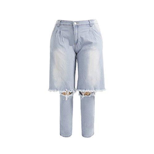 ZHOUBU Women's Irregular Plus Size Ripped Hip Hop Elastic Jeans (XX-Large, Blue) by ZHOUBU