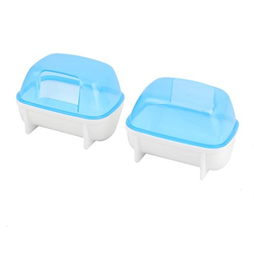 DealMux Plastic Pet Hamster Detachable Bathroom Bath Sand Room Sauna Toilet Cage Playing Habitat 2pcs Blue White