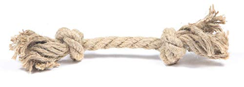 Dog Rope Toy Made from Hemp | Safe and Digestible for Small and Large Aggressive Chewers (2 Knot, 12 mm)