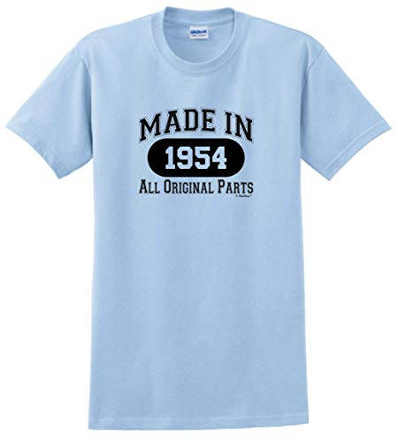 65th Birthday Party Supplies 65th Birthday Gift Made 1954 All Original Parts T-Shirt Large Light Blue