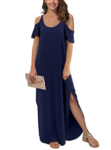 GRECERELLE Women's Summer Casual Loose Long Dress Strapless Strap Cold Shoulder Short Sleeve Split Maxi Dresses with Pocket Navy Blue-M