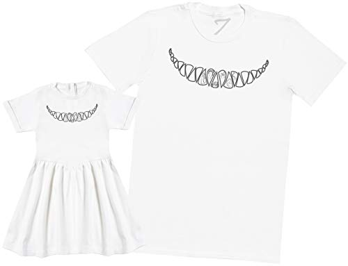Cheshire Cat Smile - Matching Baby Daughter & Father Gift Set - T-Shirt & Baby Dress - White - XXX-Large & 3-4 Years -