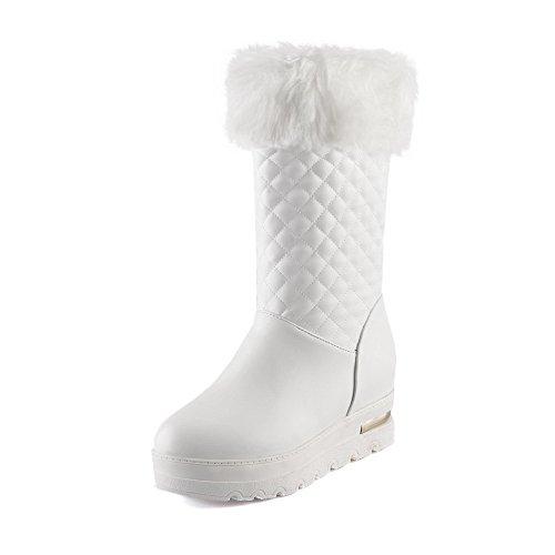 AgooLar Damen Mittler Absatz Weiches Material Hoch-Spitze Rein Ziehen auf Stiefel, Weiß, 41