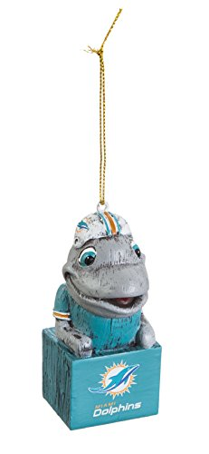 Team Sports America 3OT3816MAS Miami Dolphins Mascot Ornament - Miami Dolphins Mascot
