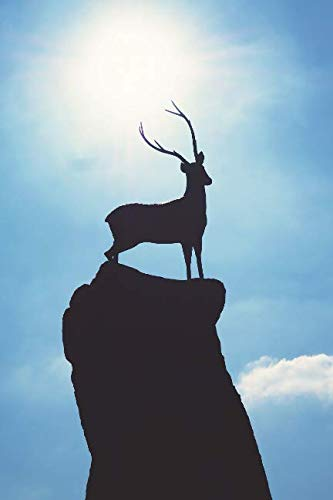 Surveying his Domain:  Silhouette of a Deer with Antlers Journal: 150 Page Lined Notebook/Diary (Deer Silhouette Antlers)