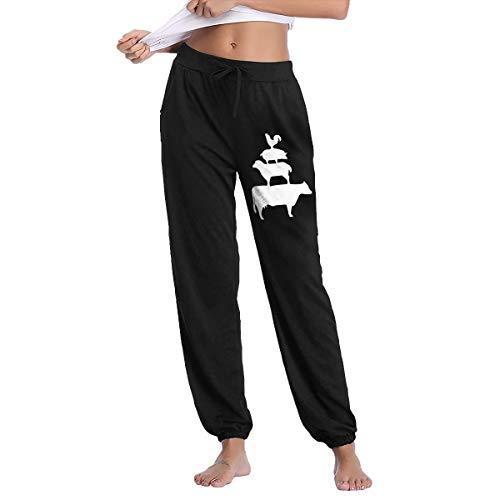 (Stacked Farm Animals Women's Drawstring Casual Athletic Training Sweatpants Pants Black)