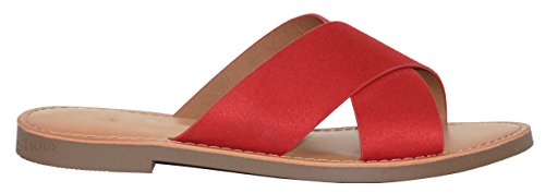 Cross Flats Sandals Faux Shoes Criss Imsu l Strappy On Women's Slip Shoes Sandal Leather Lip Slide MVE Summer Sq7AW