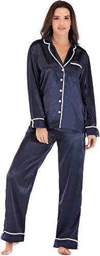 Womens Silk Satin Pajamas Set Sleepwear Loungewear Blue Size XL