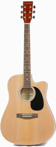 Review Jameson Guitars Full Size Thinline Acoustic Electric Guitar with Free Gig Bag Case & Picks Natural Right Handed