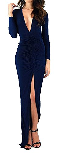 Morticia Dress (made2envy Deep V Neck Maxi Dress with Long Sleeves and Hig (M, Navy) 70137NM)