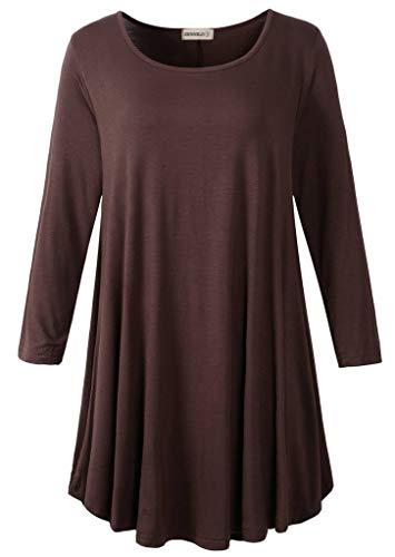 Trapeze Sleeve 3/4 - ZENNILO Womens 3/4 Sleeve Loose Fit Swing Tunic Tops Basic T Shirt (Coffee, 1X)