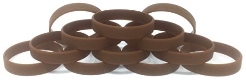 TheAwristocrat 1 Dozen Multi Pack Brown Wristbands Bracelets Silicone Rubber Select from a Variety of Colors (Brown, Adult (8