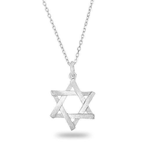 SPOIL CUPID 925 Sterling Silver 6 Point Jewish Star of David Pendant Necklace Brushed Matte Finish 18