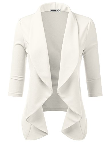 (TWINTH Women's Fashion Casual 3/4 Sleeve Slim Office Blazer Jacket Suits Ivory 2X Plus Size)