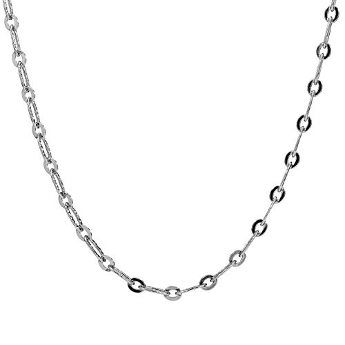 Sterling Silver Hammered Oval Link 36 Inches Chain Necklace