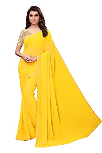 (CRAFTSTRIBE Bollywood Indian Faux Georgette Saree Party Wear Ethnic Wedding Sari Yellow)