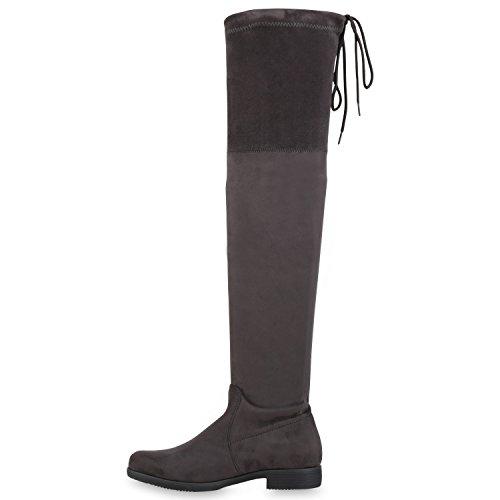 Stiefelparadies Damen Stiefel Overknees mit Blockabsatz Gefüttert Flandell Grau Velours