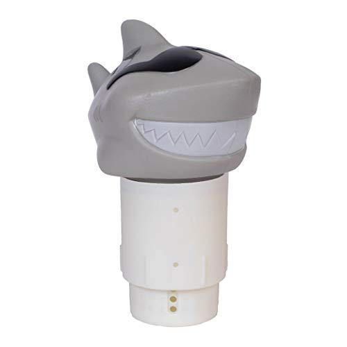GAME 12902-BB Solar Light-Up Shark Pool 3-inch Tablet Chlorine Dispenser LED Light Sensor, Expandable Basket; Adjustable Flow Rate