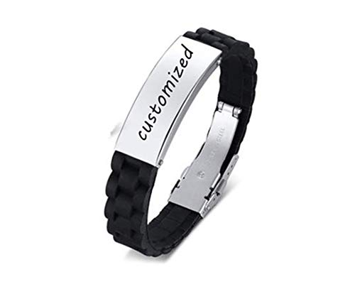 Message Plate Personalised (LiFashion LF Men's Stainless Steel Silicone Personalized Bracelet,Custom ID Plate Name Date Quote Message Personalized Wristbands Cuff Bracelet for Boyfriend,Dad,Husband,Son Gift,Free Engraving)