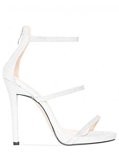 Stiletto in White Heels Strappy LAMODA Glitter Womens wx6vq4nCET