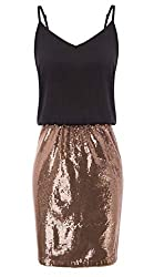 Women's Adjustable Spaghetti Strap Sleeveless Sequin Dress