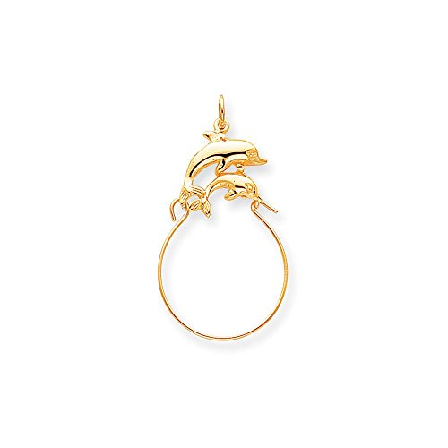- Mireval 10k Yellow Gold Double Dolphin Charm Holder (26 x 45 mm)