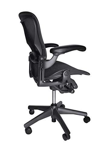 Herman Miller Classic Aeron Task Chair: Tilt Limiter w/Seat Angle Adj - Lumbar Pad - Fully Adj Vinyl Arms - Hard Floor Casters - Graphite Frame/Carbon Pellicle -Size B (Renewed) ()