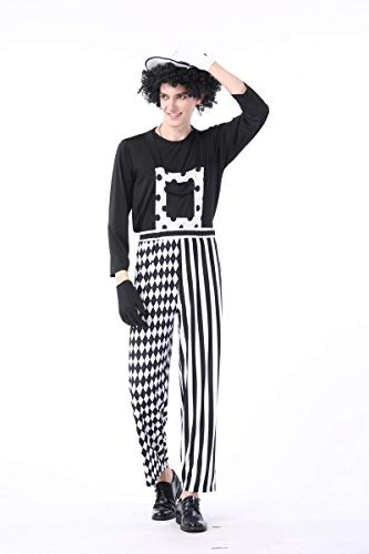 Simmia Halloween Costumes Halloween Clown Magician Couples Adult Black and White Stripes Circus Clown Nightclub Bar, Male, XL]()