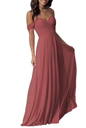 (Women's Wedding Bridesmaid Dresses Long Off The Shoulder Chiffon Formal Evening Dress Cinnamon Rose)