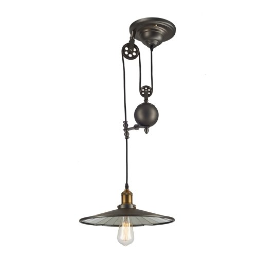 Ohr Lighting Edison Industrial Hanging Pendant Light Fixture Glass Shade Metallic Gray Antique Brass by Ohr Lighting