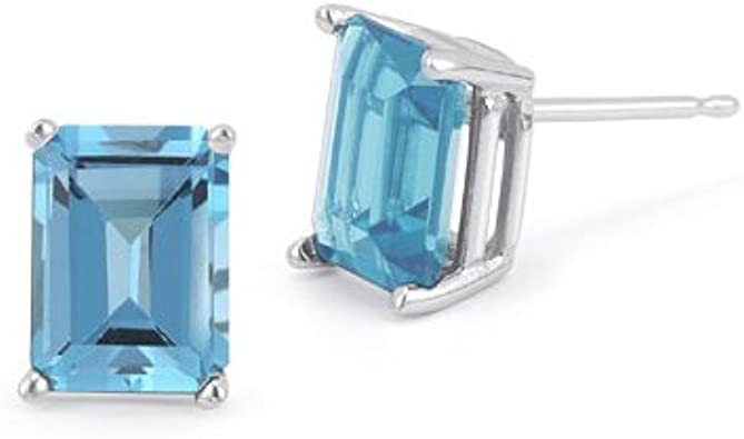 Fashion Strada3 Carat Natural London Blue Topaz 18K Yellow Gold Solitaire Stud Earrings for Women Exclusively Handcrafted By Talisman