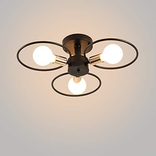 Tiffany Suspension Lamp - HXSON LED Retro Wrought Iron Ring Ceiling Lamp, Black Lampshade E27 Screw Cap 3/6/9Lights Fixture for Hallway Aisle Restaurant-D65CMH17CM