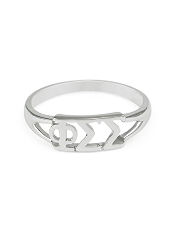 The Collegiate Standard Sterling silver Phi Sigma Sigma ring with cut-out letters size 9