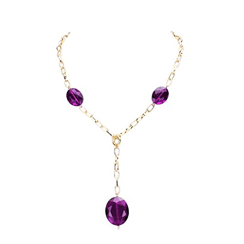 """- Chunky Y-Shaped See Through Transparent Purple Faceted Glass Bead & Gold-Tone Dangle Drop Necklace 18"""""""