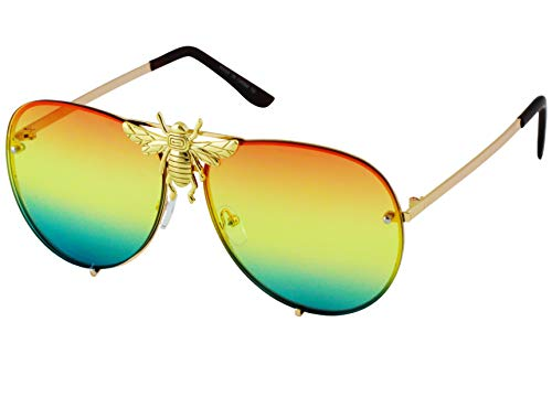 Big Bee Pilot Sunglasses Oversize Metal Frame Vintage Gradient Summer Shades ()