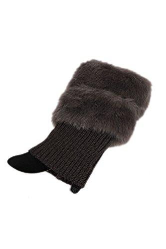 Chaqueta de piel falsa pierna invierno calentador ganchillo YACUN mujer hacer punto calcetines de arranque Darkgrey