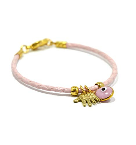 MIZZE Made for Luck Girls Bracelet Hamsa Charm Evil Eye Charm Bracelet Pink Leather Bracelet