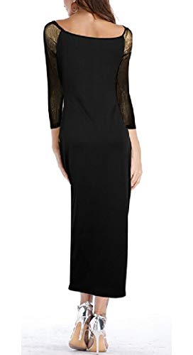 Jaycargogo Womens Avant Zip Pleine Séparation Sexy Coutures Maille Noire Robe Longue