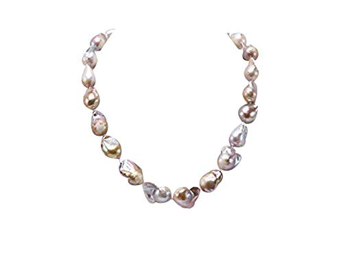 (JYX Pearl Station Necklace 12-20mm Natural Champagne Baroque Freshwater Cultured Pearl Necklace for Women 20
