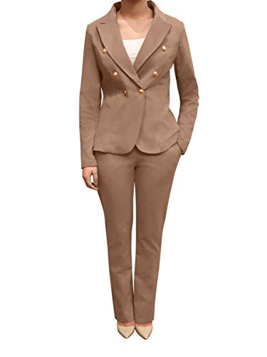 OrlyCollection Womens Double Breasted Gold Button Front Blazer (Double Button Front Skirt)