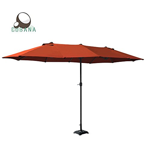 COBANA 15 ft Market Outdoor Umbrella Double-Sided Aluminum Table Patio Umbrella with Crank, Brick Red ()