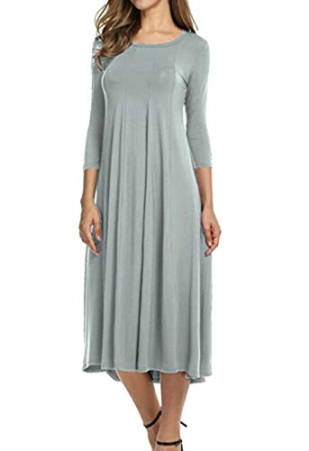 Flared Solid Color 1 Round Dress Party� 2 Domple Neck Casual Sleeve Grey Women's qUUgT