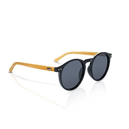 Bamboo Sunglasses By Reys: Handmade Wooden Glasses For Men And Women, Round Frame Polarized Lenses With UV Sun Ray Protection, Unisex Designer Eyewear, With Collapsible Protective - Frames Unique Wooden