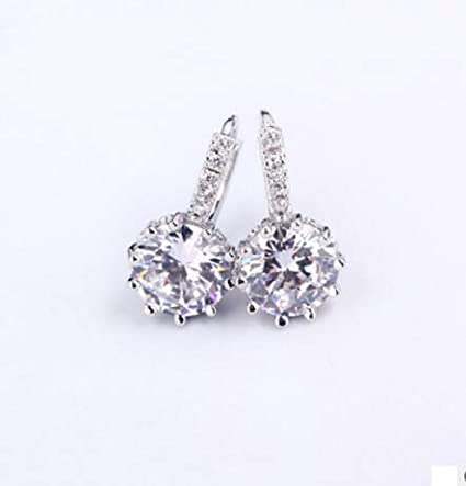 bd49261e9 Image Unavailable. Image not available for. Color: Kofun Earrings, Sterling  Silver Ear Hook Crystal Rhinestone Hoop ...