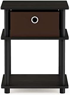 Furinno Turn-N-Tube 3-Tier End Table, Espresso Black Brown